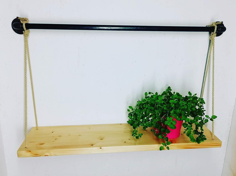 Wandregal, Hängeregal 80cm, Holz und Metall schwarz Hängeregal 80cm