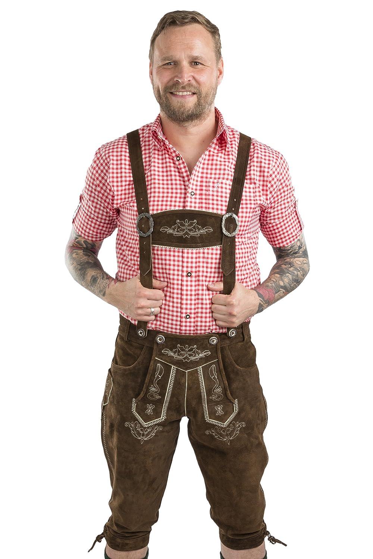Herren Wiesnstolz Trachtenlederhose - Kniebundhose mit Hosenträgern Oktoberfest Lederhose Lederhose Wiesnstolz