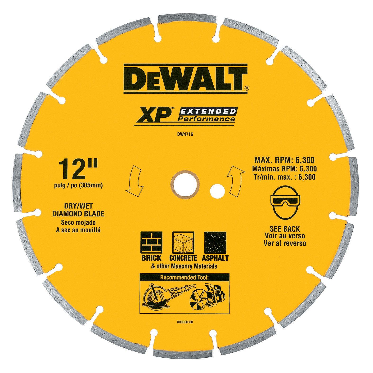 Disco de Diamante DEWALT DW4716 industrial segmentado de corte en seco de 12 pulg. con eje de 1 pulgada