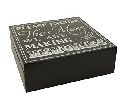 Vintage Shabby memorias caja madera pintada negro regalo