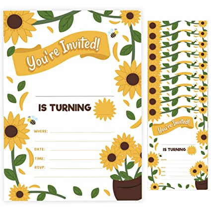 Sunflower 1 Happy Birthday Invitations Invite Cards 10 Count With Envelopes Boys Girls Kids Party 10ct