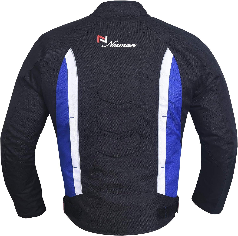 NORMAN Mens Motorbike Motorcycle Jacket Waterproof Textile Biker CE Armoured Cordura Blue//Black