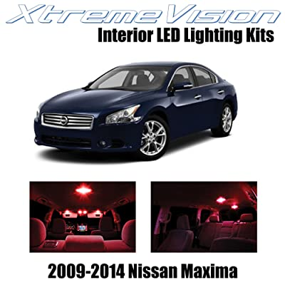 Xtremevision Interior LED for Nissan Maxima 2009-2014 (14 Pieces) Red Interior LED Kit + Installation Tool Tool: Automotive