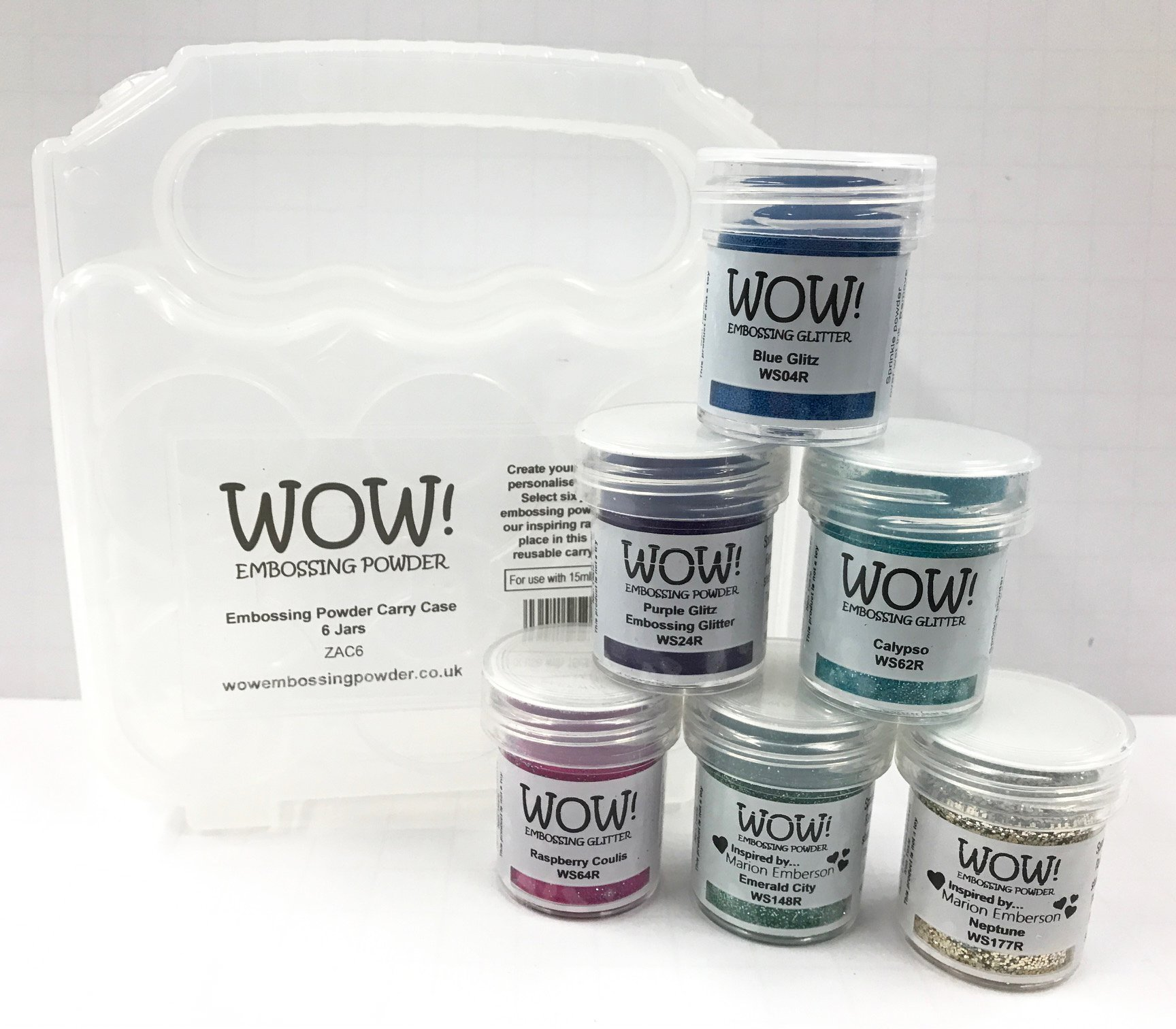 WOW! Embossing Powder and Glitter Magical Mermaid Colors 6-Pack Kit and Clear Carrying Case - Bundle 7 Items