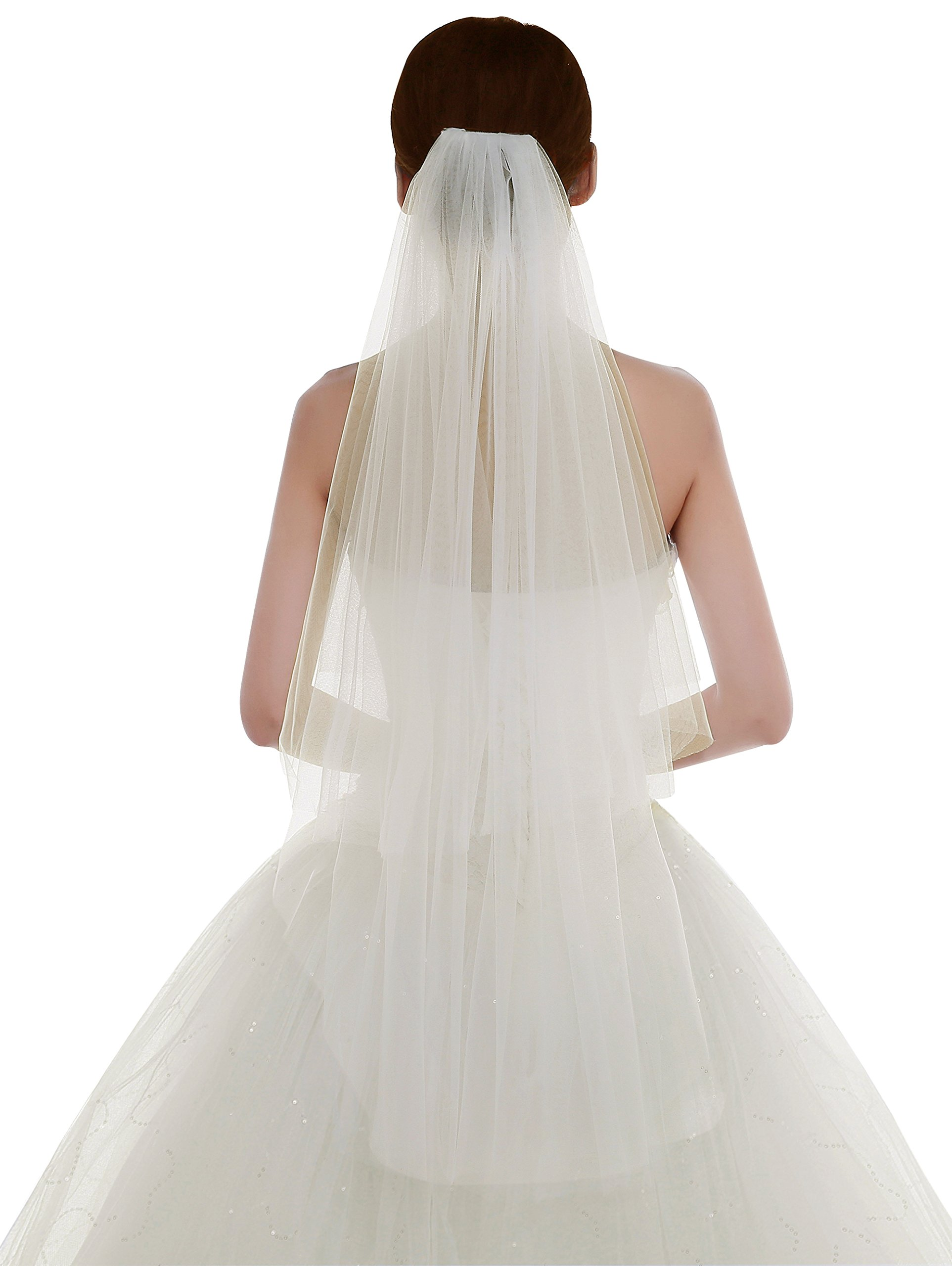 Edith qi Women's Simple Tulle Bridal Veil Short Wedding Veil,Ivory by Edith qi