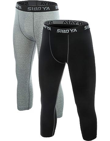 189247151c Siboya Men's Compression 3/4 Capri Shorts 2 Pack Baselayer Cool Dry Tights  Running Pants