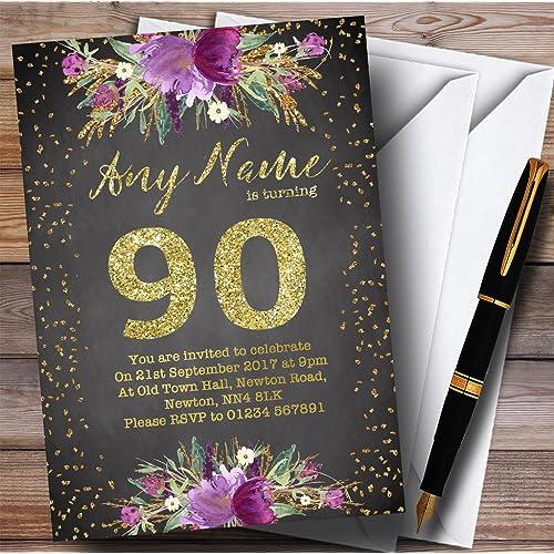 Chalk Watercolour Purple Gold 90th Personalized Birthday Party Invitations