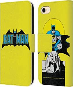 Head Case Designs Officially Licensed Batman DC Comics Classic 2 Logos Leather Book Wallet Case Cover Compatible with Apple iPhone 7 / iPhone 8 / iPhone SE 2020