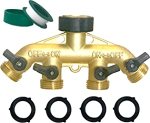 MAXFLO Garden Hose Splitter | 4 Way Hose Splitter | Hose Connectors Faucet Splitter | Heavy Duty Brass Splitter | Hose Bib Outlet Splitter | Hose Spigot Adapter 4 Valves | Free Extra 4 & PTFE Tape