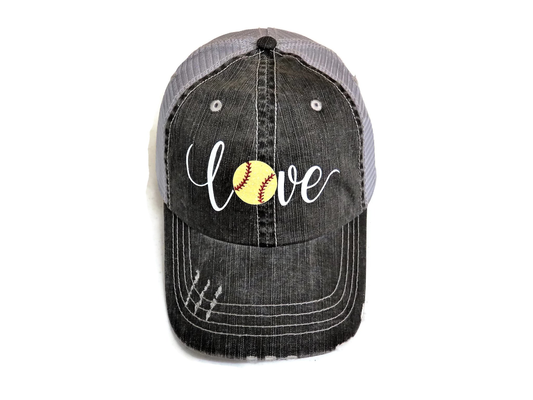 White/Yellow Glitter Softball Love Distressed Look Grey Trucker Cap Hat Sports