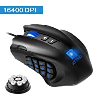 Gaming Mouse, Rytaki High-Precision 16400 DPI Laser MMO Wired Gaming Mice with 19 Programmable Buttons, 12 Side Buttons,6 Adjustable DPI Levels, Weight Tuning Cartridge for PC, Gamer-Black