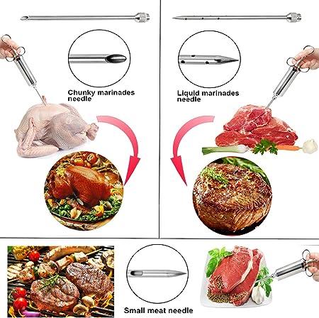 Jeringa Cocina da acero Inox con 3 Agujas Aprobado por la FDA 304 jeringa de Alimentos con Sabor a Adobo de Acero Inoxidable para Pavo de Res BBQ 60 ml 2 oz con 2 Cepillos