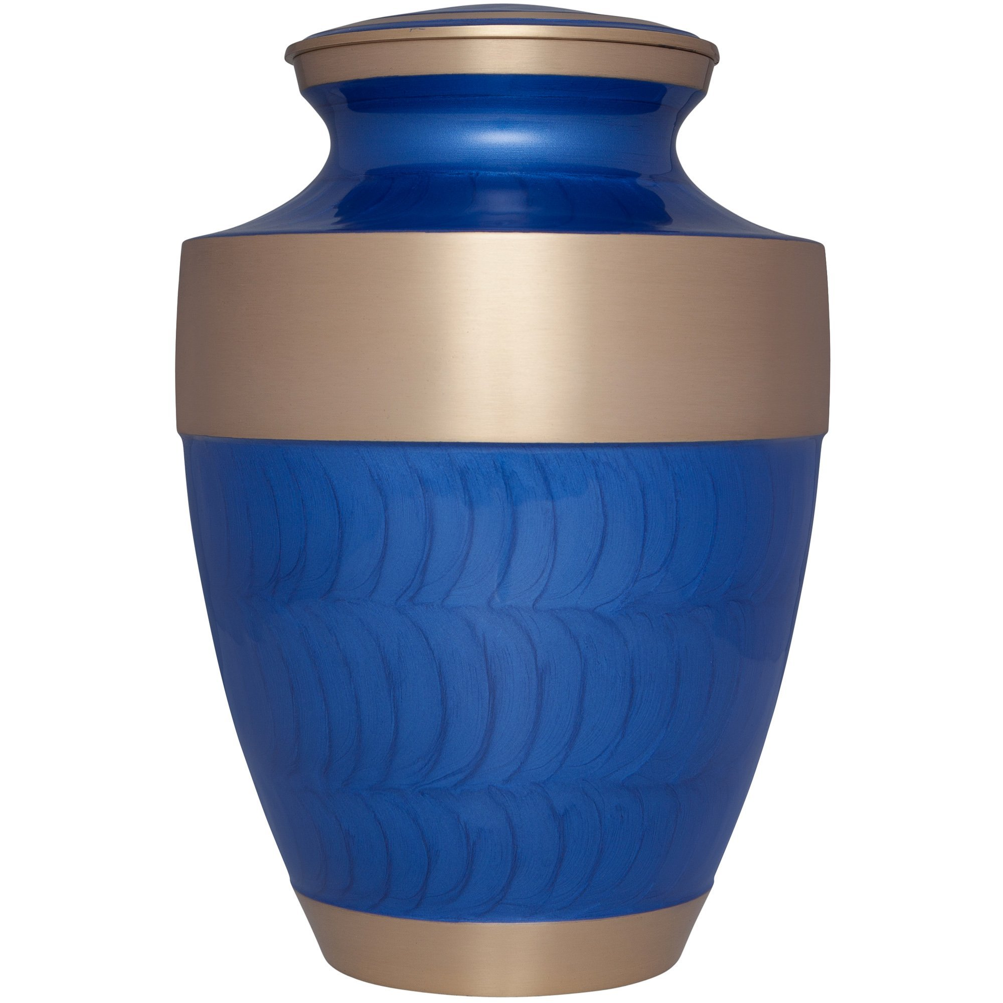 Funeral Urn by Liliane Memorials - Cremation Urn for Human Ashes - Hand Made in Brass - Suitable for Cemetery Burial or Niche - Large - Fits remains of Adults up to 200 lbs - Banda Model (Blue)
