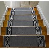 Stair Treads Skid Slip Resistant Backing Indoor Carpet Stair Treads Trellis Border Design 8 ½ inch x 26 ¼ inch (Set of 13, Grey Black)