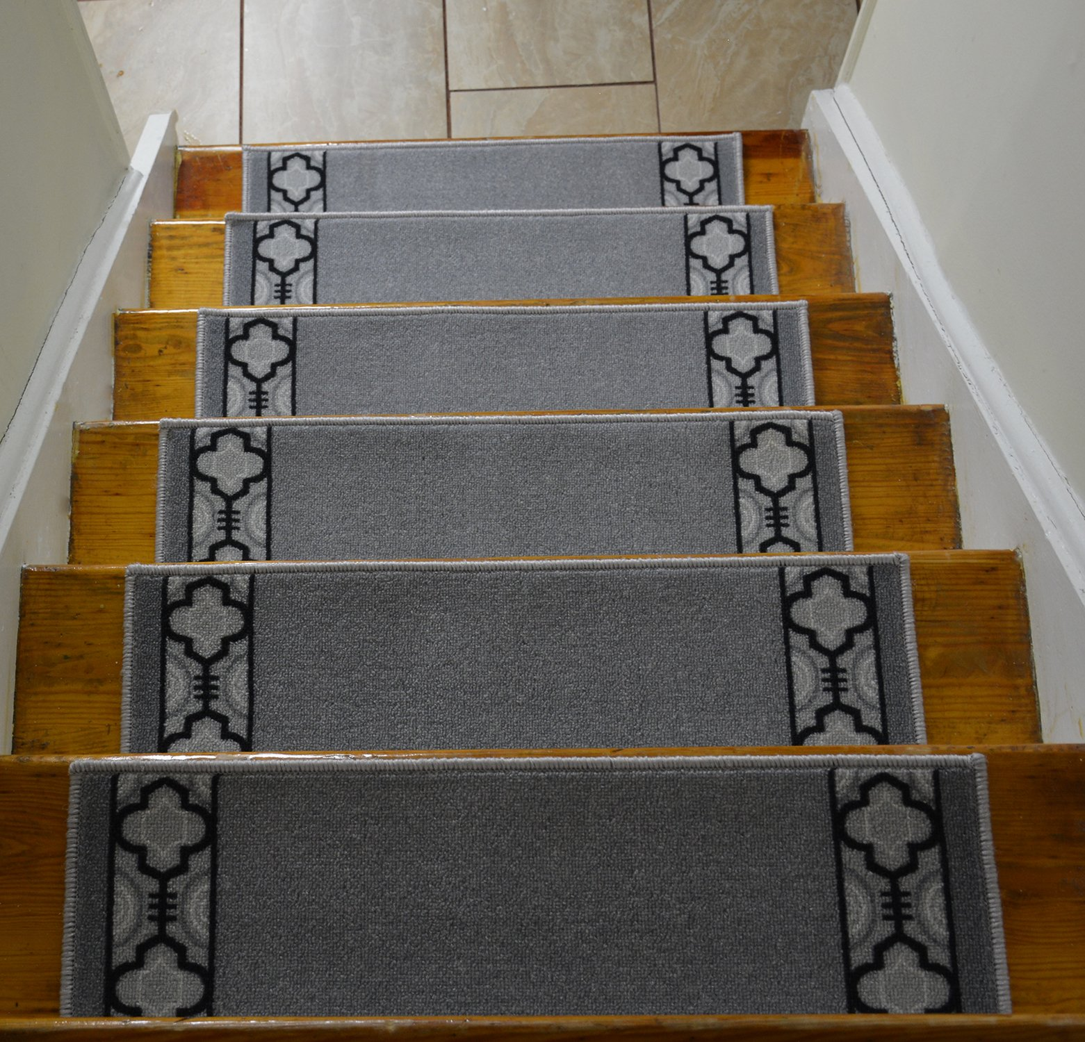 Stair Treads Skid Slip Resistant Backing Indoor Carpet Stair Treads Trellis Border Design 8 ½ inch x 26 ¼ inch (Set of 13, Grey Black) by RugStylesOnline