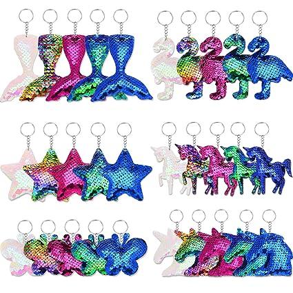Amazon.com: Llaveros con lentejuelas de colores con diseño ...
