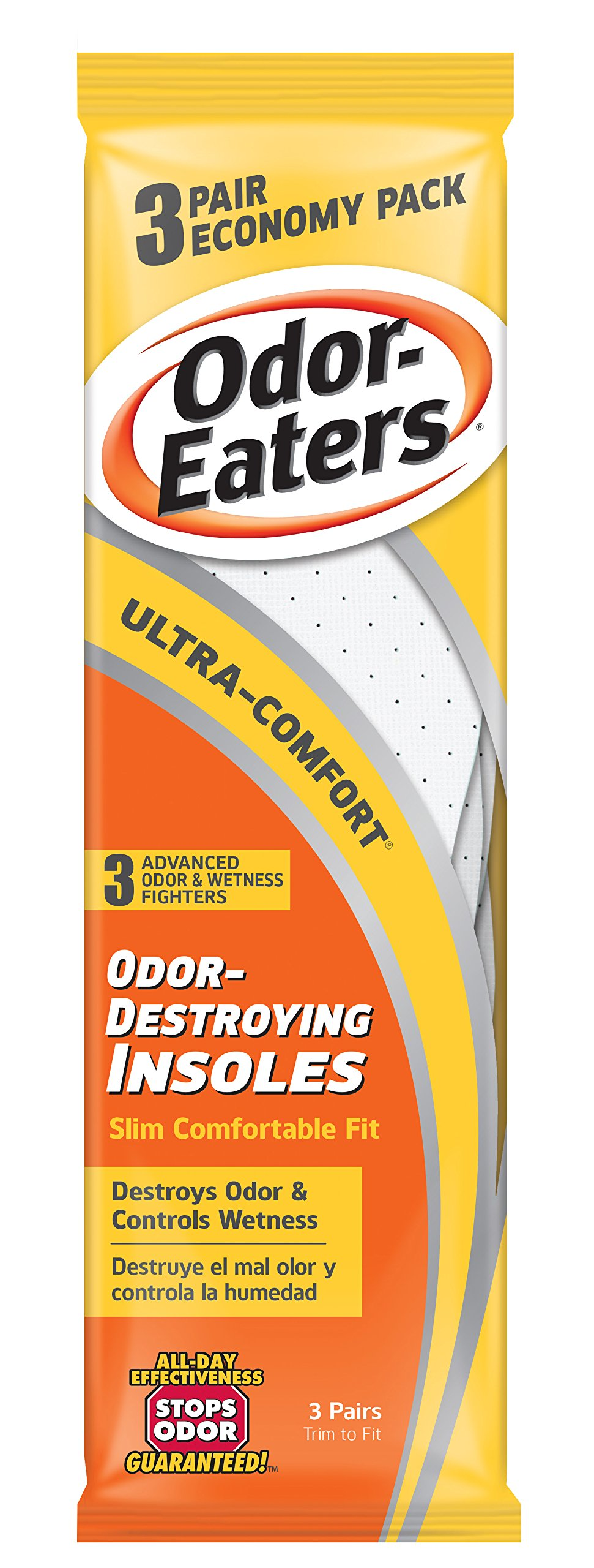 Odor-Eaters Ultra Comfort Odor-Destroying Insoles, One Size Fits All, Economy Pack, 3 Pairs per Pack, (Case of 3 Packs) by Odor-Eaters