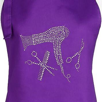 Purple Hair Stylist Salon Apron With Rhinestone Design, (Purple Tools) By  Plum Hill