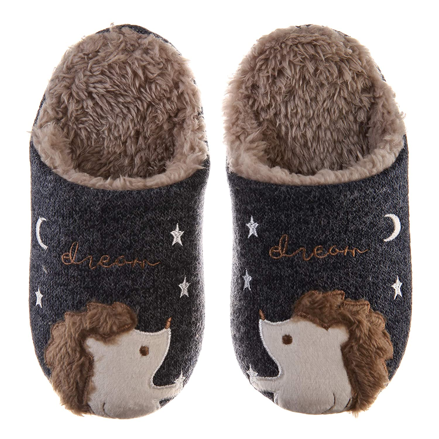 8f2179657 Amazon.com | Kids Boy Girls Cute Animal House Slippers Soft Warm Hedgehog  Indoor Fuzzy Plush Waterproof Sole Slipper Shoes | Slippers