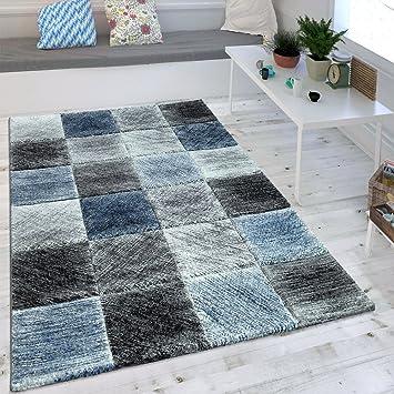 Amazon.de: Wohnzimmer Teppich Indigo Blau Grau Trend Kariert Vintage ...