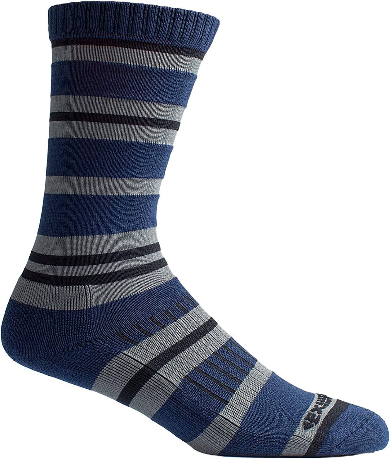 ExOfficio BugsAway Sol Cool Crew Sock, Navy Stripe, Medium/Large