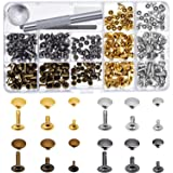 Bememo 180 Set 3 Sizes Leather Rivets Single Cap Rivet Tubular Metal Studs with 3 Pieces Fixing Tool for DIY Leather Craft Rivets Replacement, 4 Colors Gold, Silver, Gunmetal, Bronze