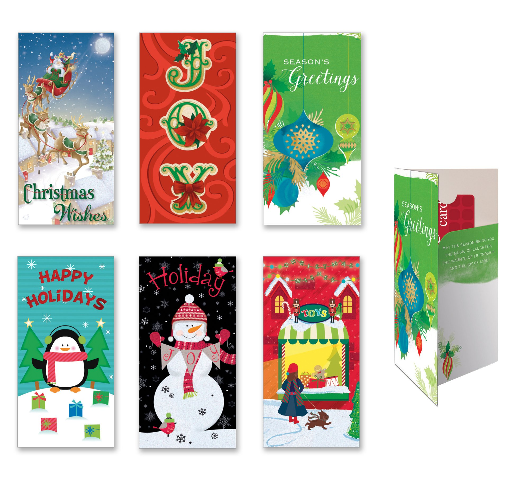 Amazon Assorted Holiday Gift Card Money Holder Cards Set of 6