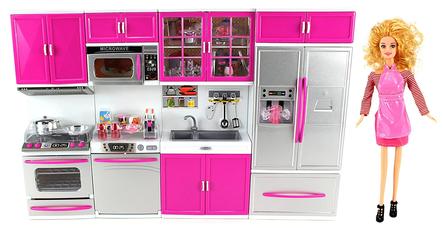 Amazon Com My Modern Kitchen Full Deluxe Kit Battery Operated Toy Doll Kitchen Playset W Toy Doll Lights Sounds Perfect For Use With   Tall Dolls