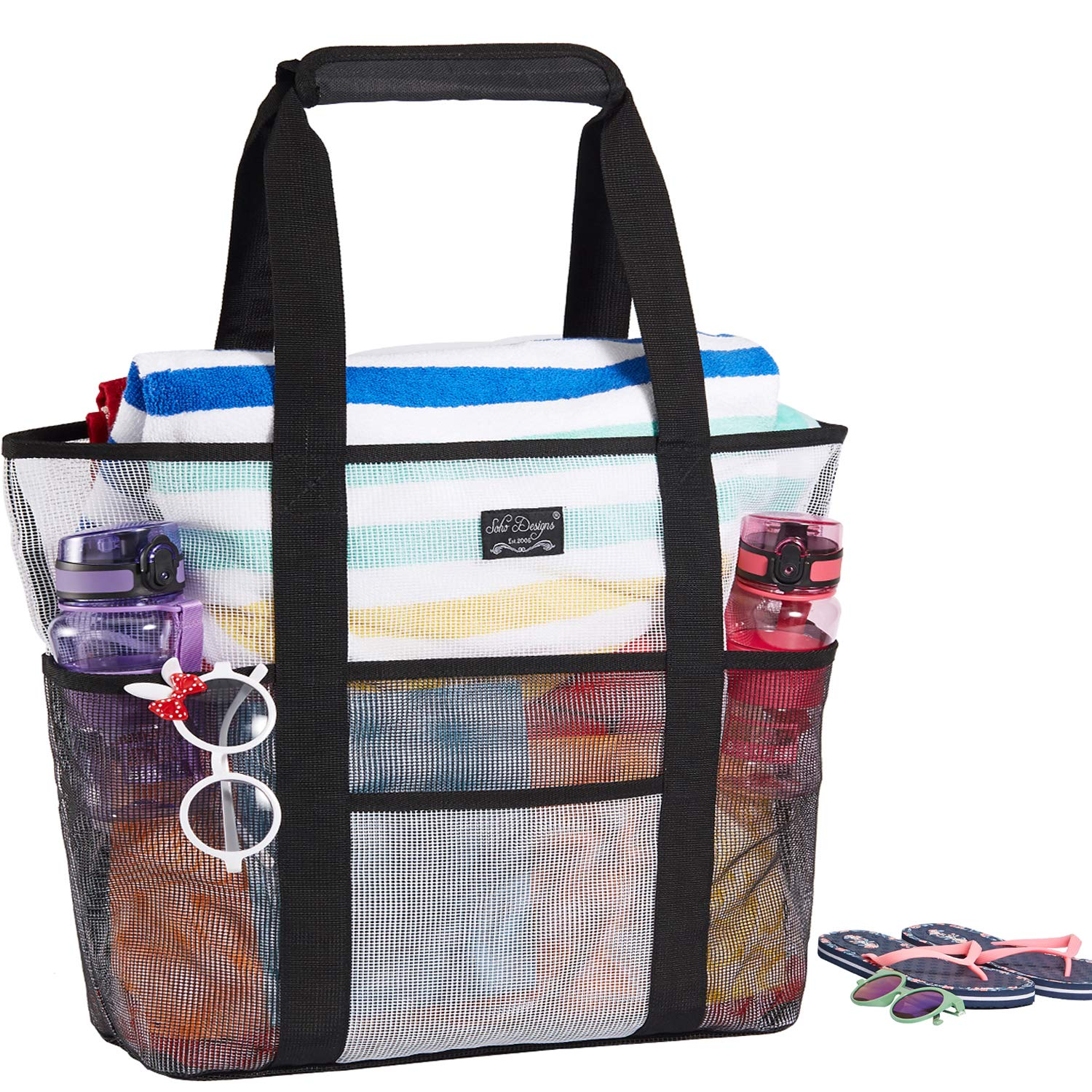 Mesh Beach Bag, Beach Bags and Totes with Handles, Frank Mully Large Toy Tote Bag