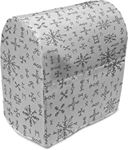Ambesonne Nordic Stand Mixer Cover, Viking Runes and Talismans Scandinavian Symbols with the Futhark Alphabet, Kitchen Appliance Organizer Bag Cover with Pockets, 5 Quarts, Dark Grey and White