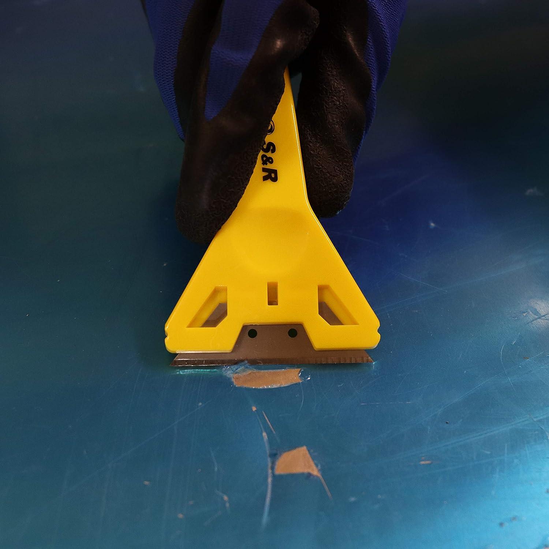 vitroceramica vidrio adhesivos papel pintado. S/&R Juego de 3 Rasquetas // Rascadores para Vidrio y Pintura con 15 cuchillas de repuesto Rasqueta universal para ventanas