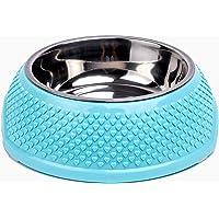NEW PET – Plato Comedero para Perro antiderrapante de Acero Inoxidable 12 oz (Azul)
