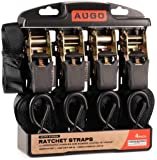 "AUGO Extra Strong Ratchet Straps & Soft Loops – Pack of [4] 1"" by 15' Ratchet Straps w/S-Hook Safety Latches & [4] Soft Loop Tie Downs – 1700Lb Break Strength for Furniture, TVs, Surfboards, Etc."