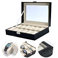 Yaekoo Watch box 12slots uomo nero PU display Clear top Jewelry case organizer (12slot)