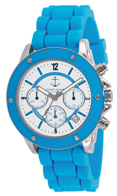 Naf Naf Damen-Armbanduhr Regate Quarz analog Silikon Blau N10049-216