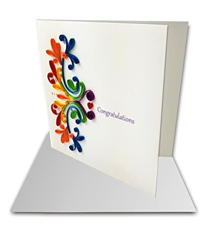 Amazon rainbow congratulations quilling greeting card 6x6 rainbow quotcongratulationsquot quilling greeting card 6x6quot with envelope any occasion m4hsunfo