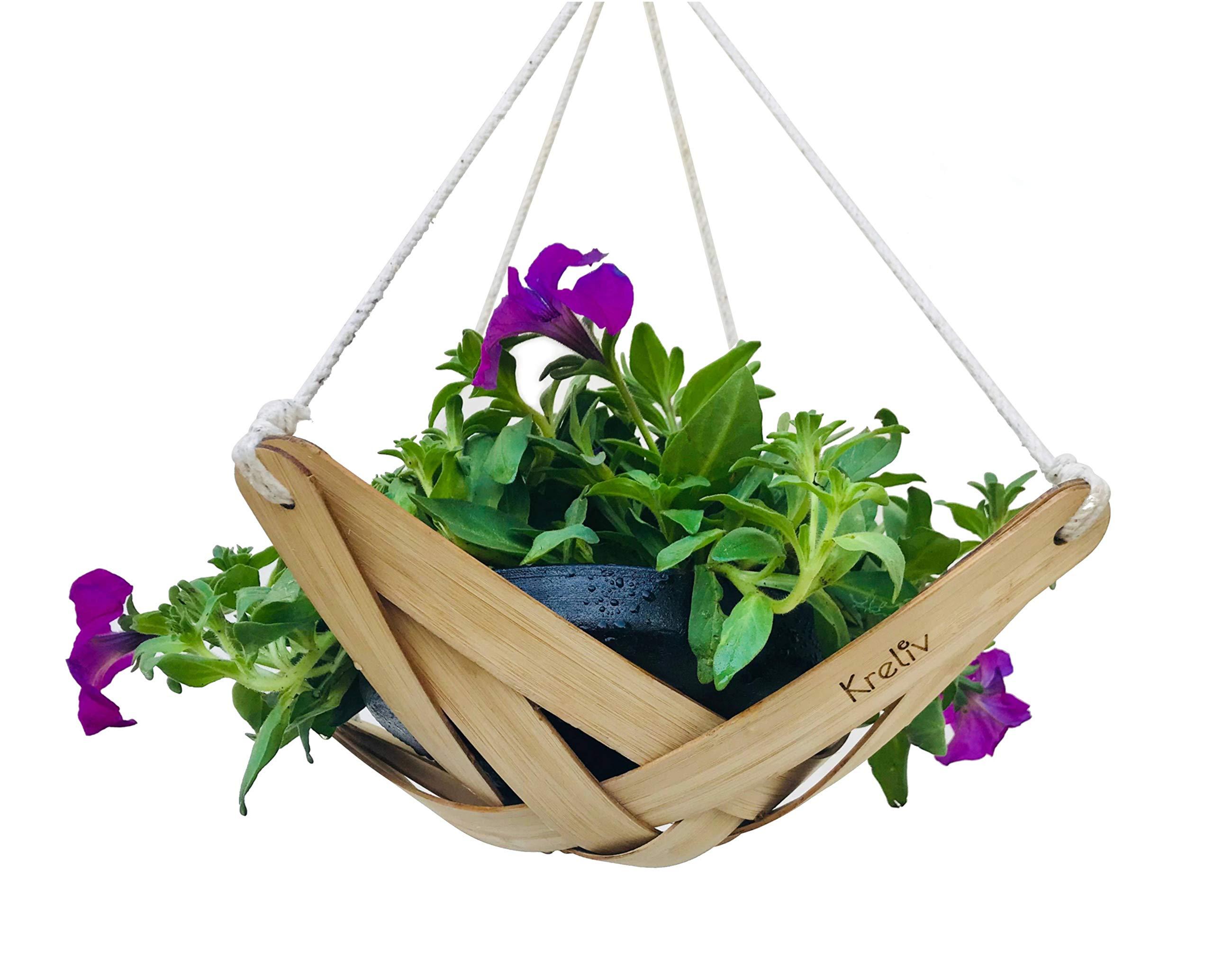 Kreliv Bamboo Terracotta Hanging Planter - Medium product image