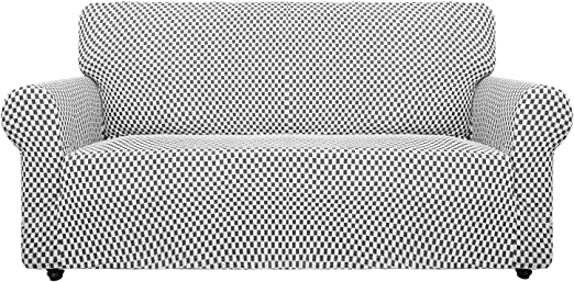 Chair, Charcoal Black Checkered Chelzen Chair Covers for Living Room Innovative Double-Color Chair Slipcovers with Arms High Stretch Spandex Couch Protector Pet Dog Sofa Armchair Slip Cover
