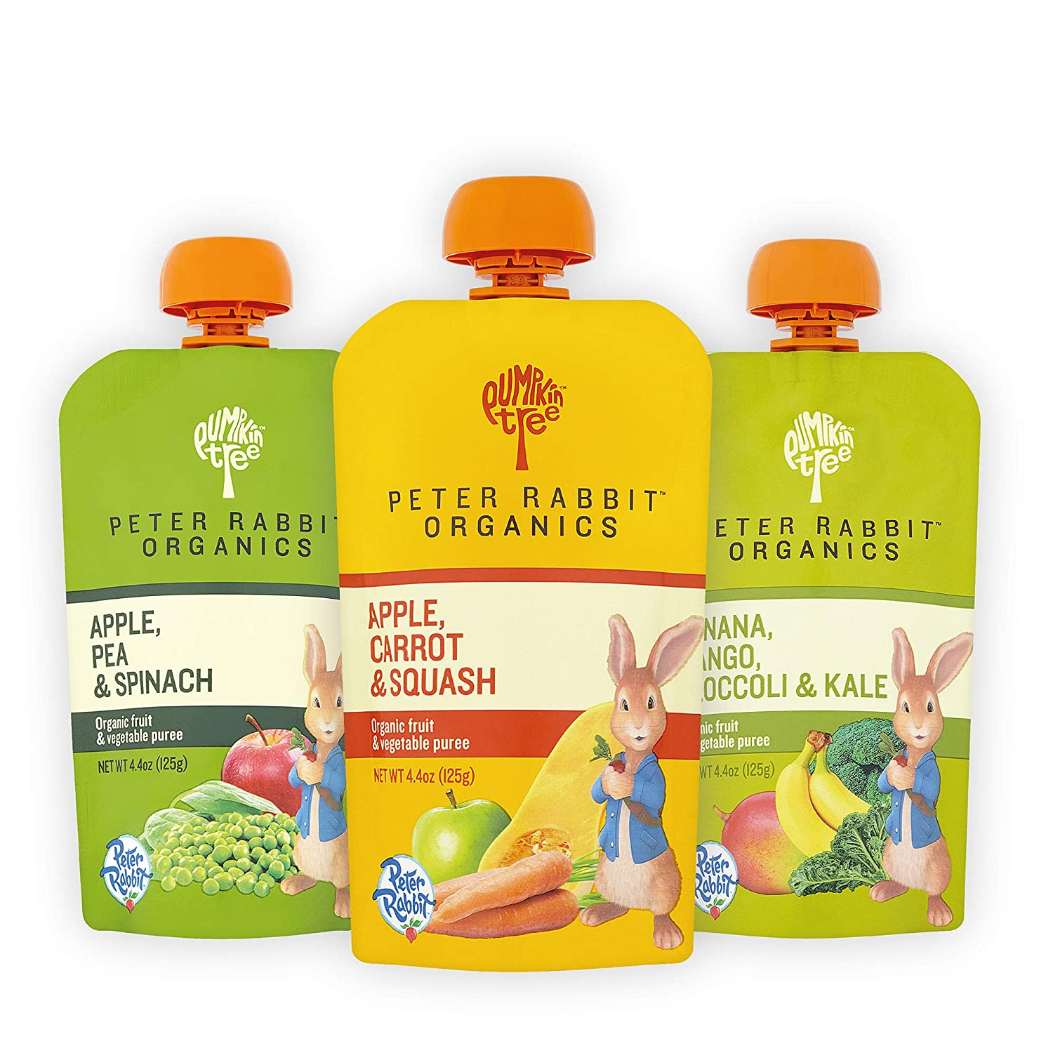 Pumpkin Tree, Peter Rabbit Organics Fruit Vegetable Variety Squeezable Pouches, 4.4092 Ounce (Pack of 18)