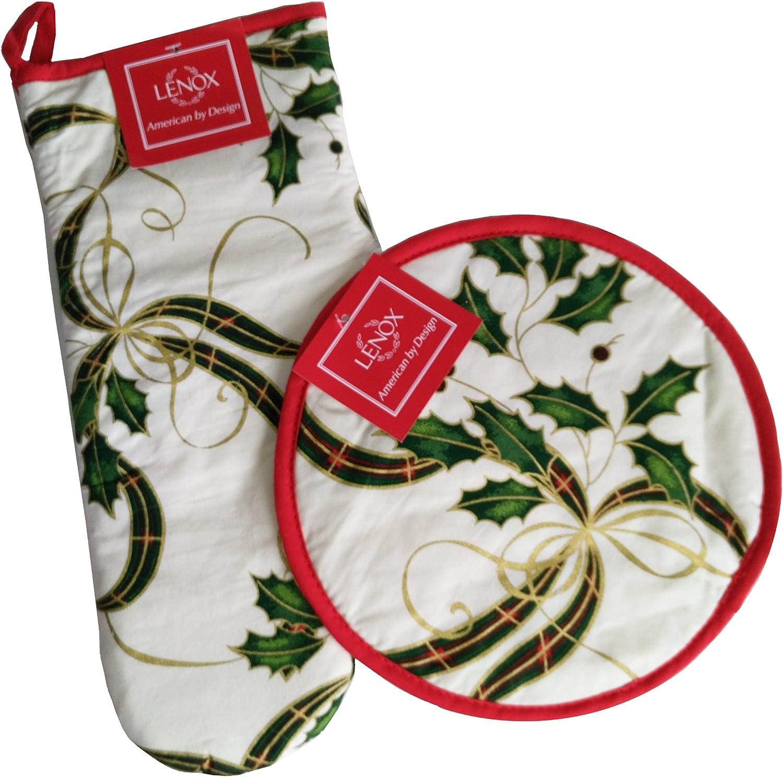 Lenox Christmas Hot Pad Set - 2 item Bundle: Holiday Holly Oven Mitt and Pot Holder
