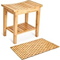 Morvat Bamboo Shower Bench and Bamboo Shower Mat, Shower Seat, Bathroom Furniture, Shower Chair, Tub Bench, Bathroom Bench, Small Wood Bench, Made from Durable, Waterproof Bamboo Wood, 48cm x 45cm x 30cm