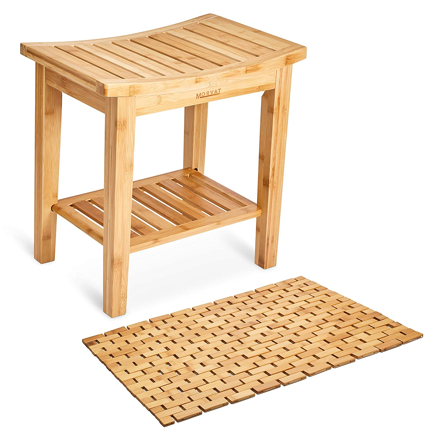 "Morvat Bamboo Shower Bench and Bamboo Shower Mat, Shower Seat, Bathroom Furniture, Shower Chair, Tub Bench, Bathroom Bench, Small Wood Bench, Made from Durable, Waterproof Bamboo Wood, 19""x18""x12"""