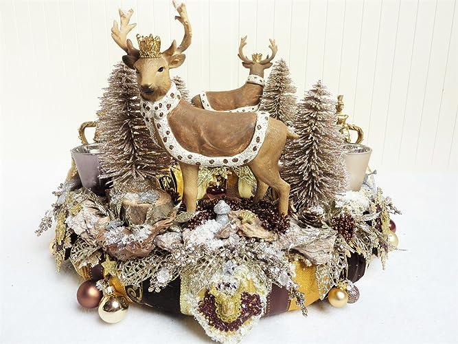 Weihnachtsdeko Gold Braun.Adventkranz Waldkönige Gross Hirsch Wald Braun Gold Kronen Xxl