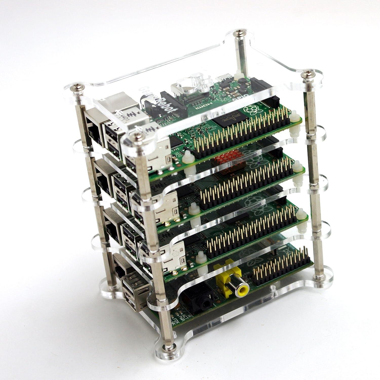 GeauxRobot Raspberry Pi 3 Model B 4-layer Dog Bone Stack Clear Case Box Enclosure also for Pi 2B B+ A+ B A