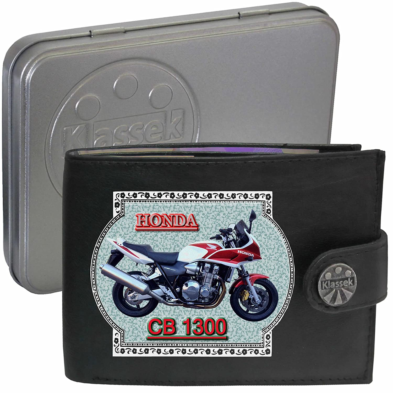 HONDA CB1300 Motorbike accessory Gift Bike Klassek Men Wallet Purse Real Black Leather with Metal Box