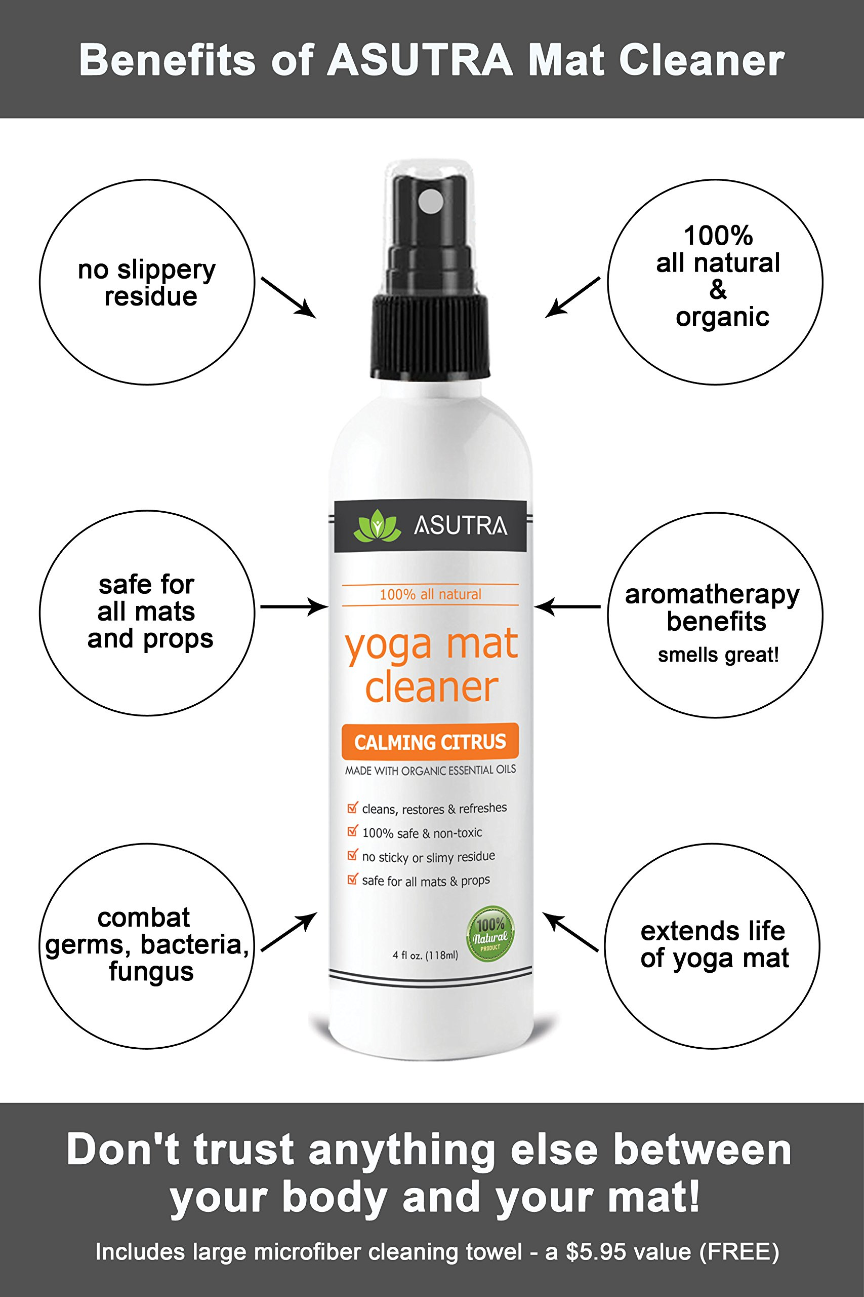 Asutra 100 Natural Amp Organic Yoga Mat Cleaner Safe For