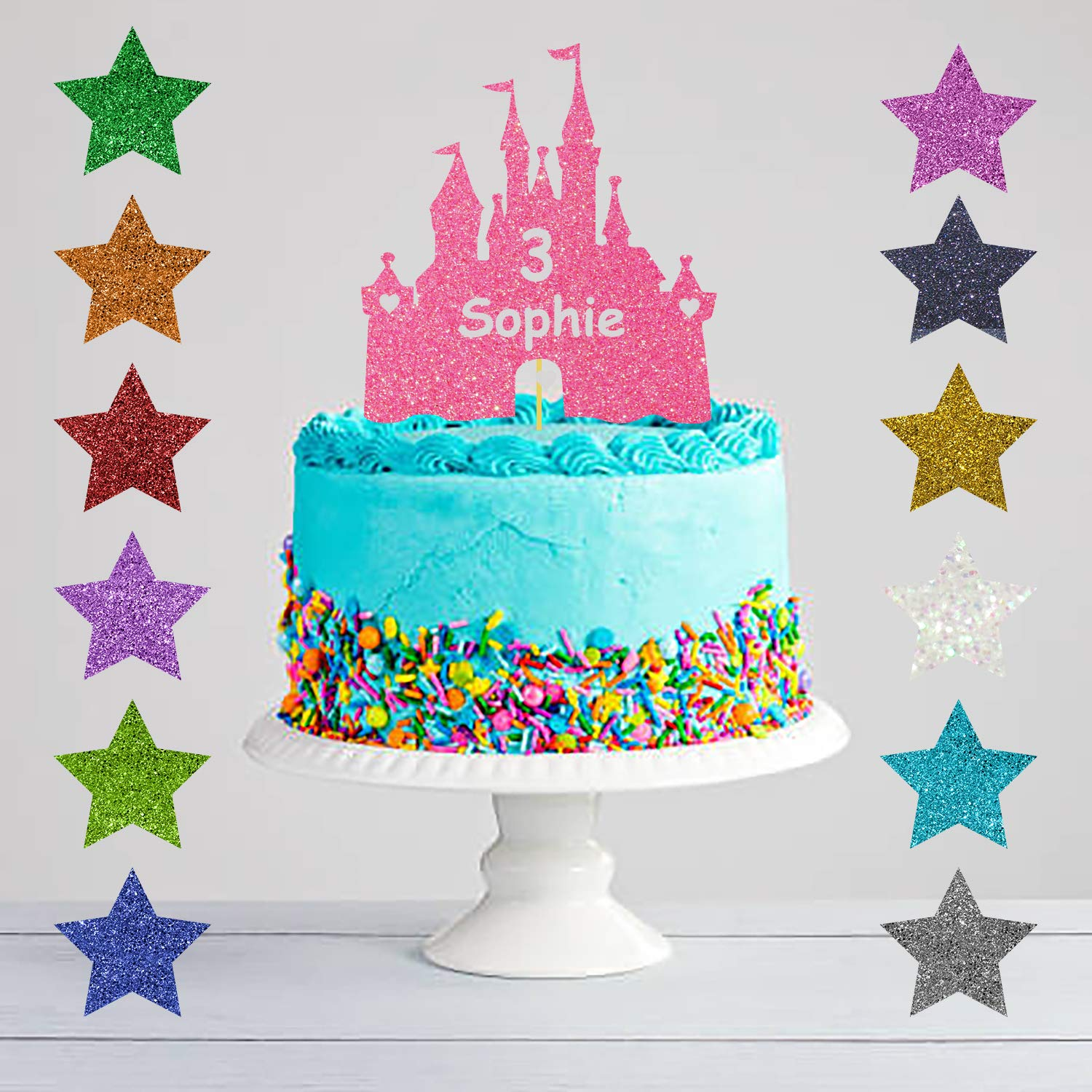 Admirable Personalised Birthday Princess Castle Glitter Cake Topper Amazon Funny Birthday Cards Online Inifofree Goldxyz