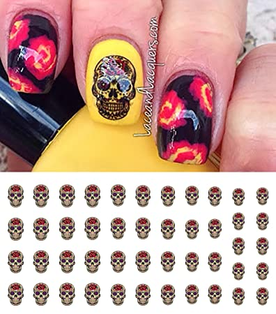 Amazon Red Rose Sugar Skull Nail Art Day Of The Dead Decals Beauty