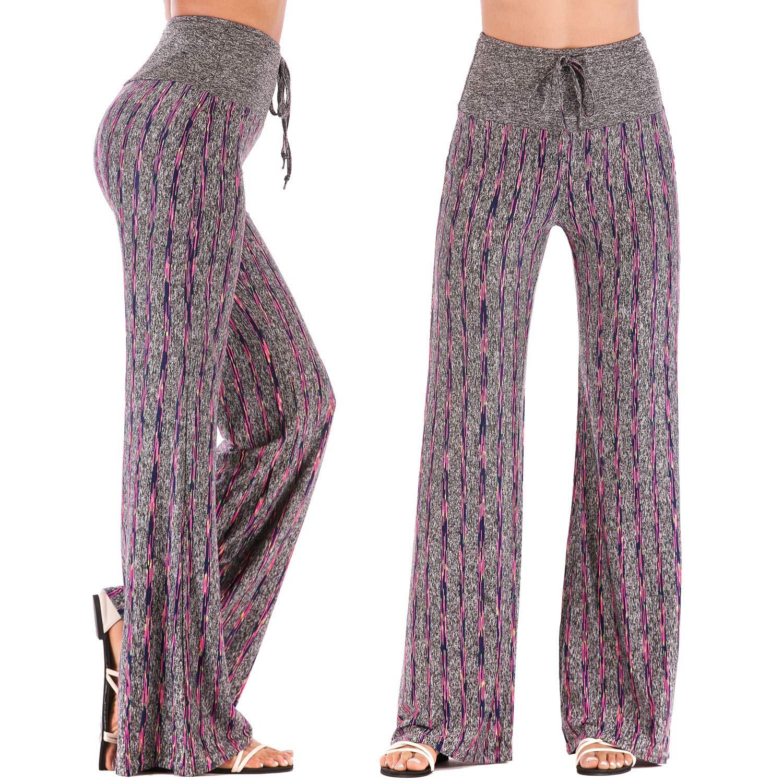 Stripe   4 FITTOO Women Lounging Palazzo Pajama Pants Soft Comfortable Yoga Pants with Adjustable Drawstring