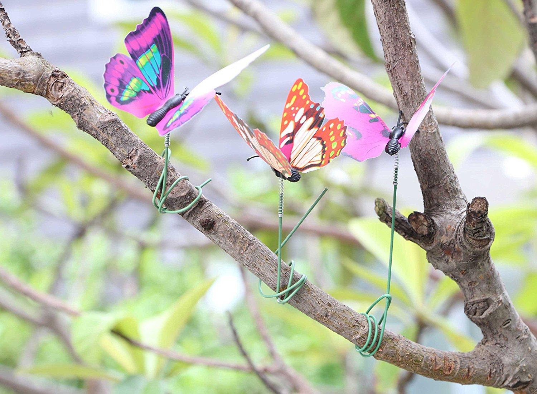 24x Artificial Butterfly Stakes Outdoor Yard Planter Flower Pot Bed Garden Decor